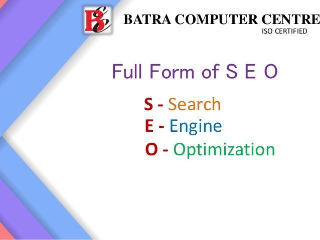 SEO Training in Ambala Cantt ! BATRA COMPUTER CENTRE