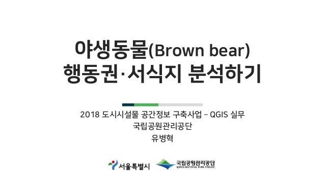 야생동물(Brown bear) 행동권·서식지 분석하기 2018 도시시설물 공간정보 구축사업 – QGIS 실무 국립공원관리공단 유병혁