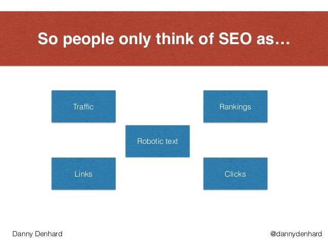 So people only think of SEO as… Traffic Rankings Links Clicks Robotic text @dannydenhardDanny Denhard