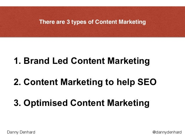 There are 3 types of Content Marketing 1. Brand Led Content Marketing  2. Content Marketing to help SEO 3. Optimised Con...