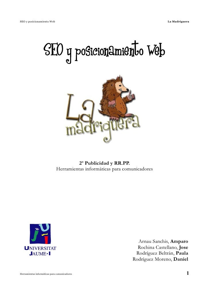 SEO y posicionamiento Web                                                       La Madriguera                    SEO y pos...