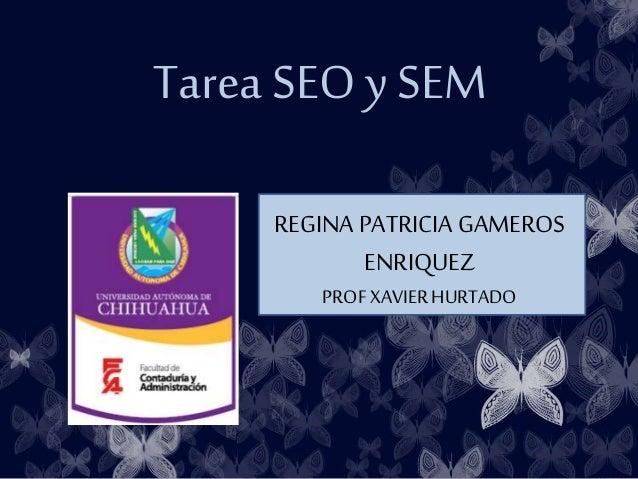 Tarea SEO y SEM REGINA PATRICIA GAMEROS ENRIQUEZ PROF XAVIER HURTADO