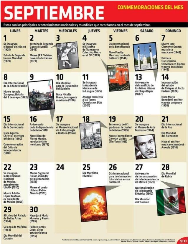 SEPTIEMBRE     Estos son los principales acontecimíentos nacionales y mundiales que recordamos en el mes de septiembre.   ...