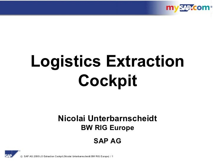 Logistics Extraction              Cockpit                                Nicolai Unterbarnscheidt                         ...
