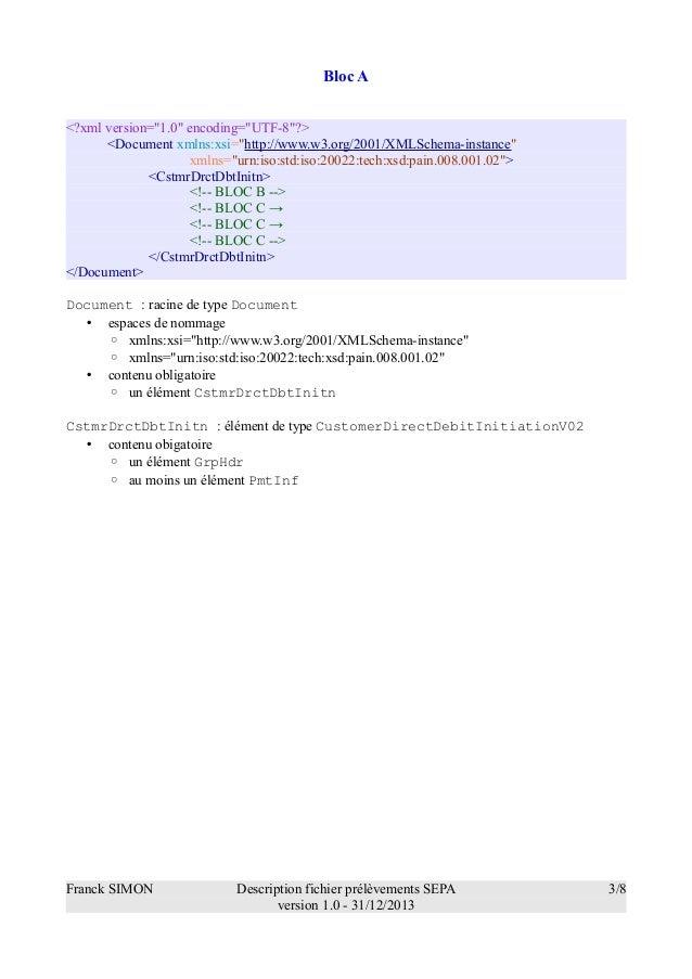 Description d'un fichier de prélèvements SEPA minimum Slide 3