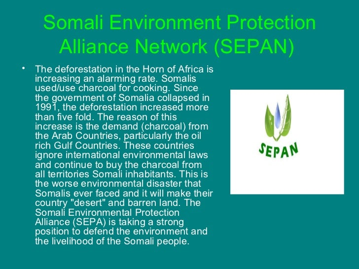 Somali Environment Protection Alliance Network (SEPAN)   <ul><li>The deforestation in the Horn of Africa is increasing an ...