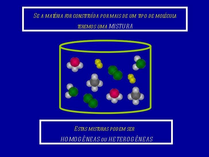 Se a matéria for constituída por mais de um tipo de molécula teremos uma  MISTURA Estas misturas podem ser  HOMOGÊNEAS ou ...