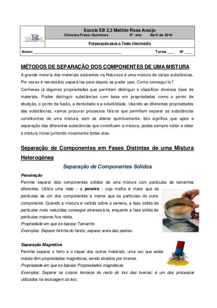 Escola EB 2,3 Matilde Rosa Araújo                         Ciências Fí sico-Química s          9º ano     Abril de 2010    ...