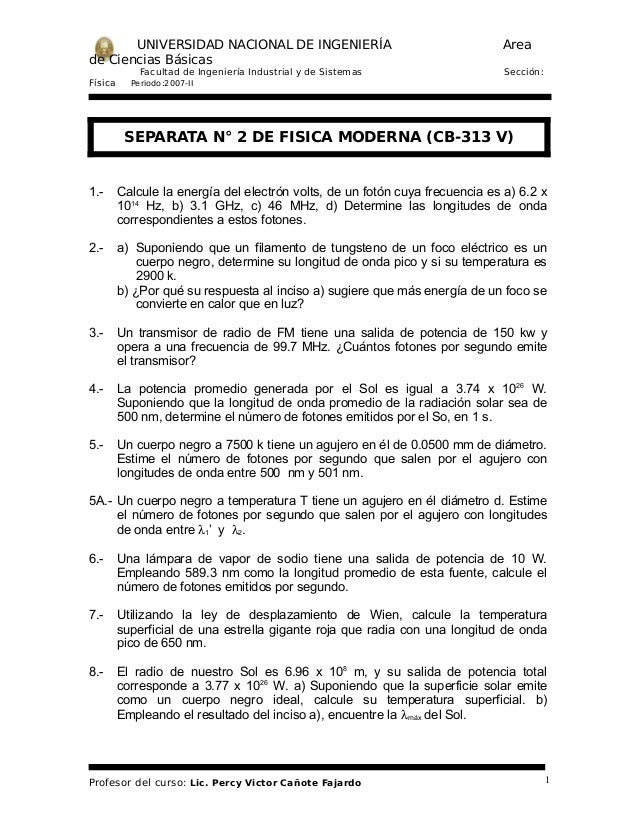 UNIVERSIDAD NACIONAL DE INGENIERÍA de Ciencias Básicas Facultad de Ingeniería Industrial y de Sistemas Física  Area Secció...