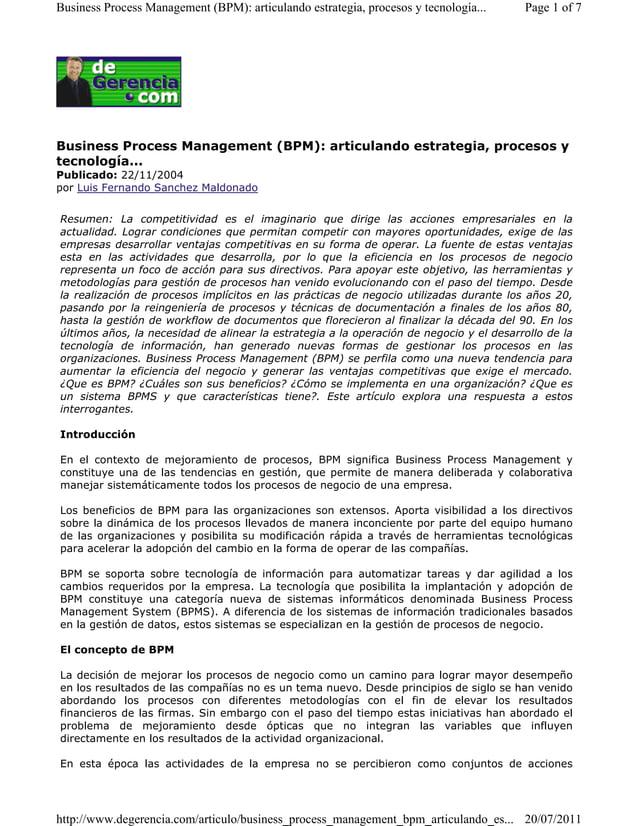 Business Process Management (BPM): articulando estrategia, procesos y tecnología... Page 1 of 7  Business Process Manageme...