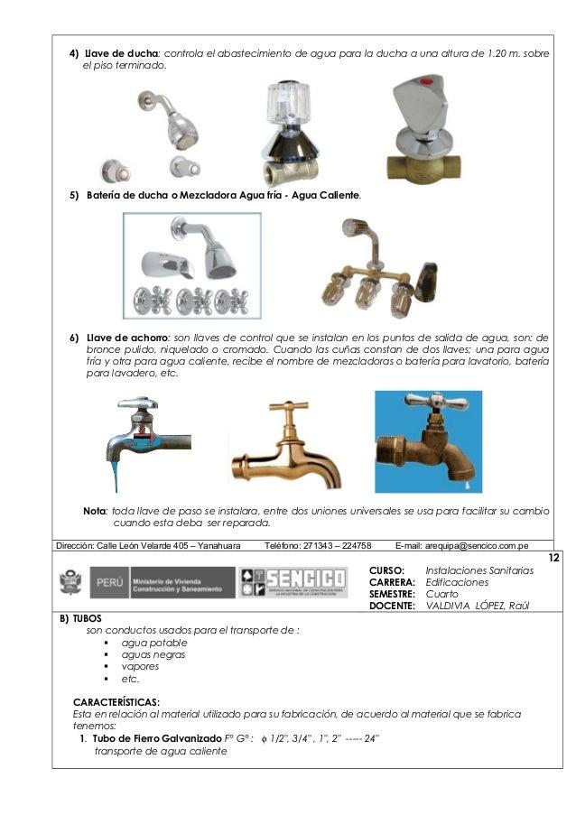 Separata 2 inst sanitarias for Partes de una llave de ducha