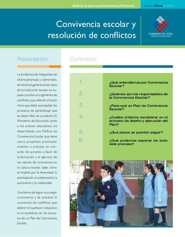 Material de apoyo para Profesoras y Profesores NuestrosTemas | Nº 30  Convivencia escolar y  resolución de conflictos  Pre...
