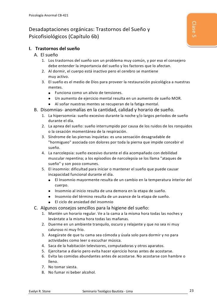 5486400-457200Clase 500Clase 5Desadaptaciones orgánicas: Trastornos del Sueño y Psicofisiológicos (Capítulo 6b)<br />Trast...