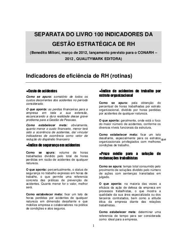 SEPARATA DO LIVRO 100 INDICADORES DA                  GESTÃO ESTRATÉGICA DE RH  (Benedito Milioni, março de 2012, lançamen...