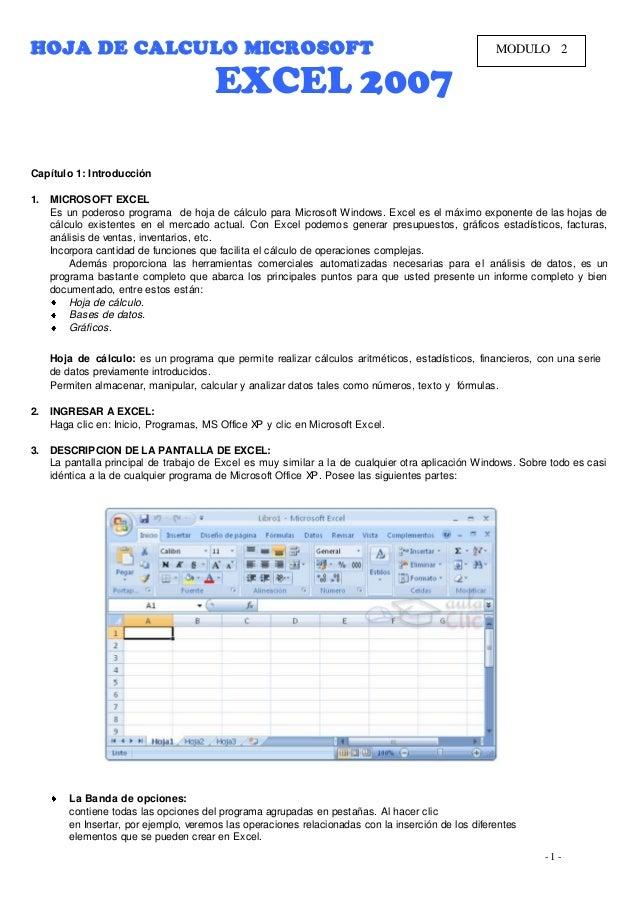 HOJA DE CALCULO MICROSOFT                                                                            MODULO 2             ...