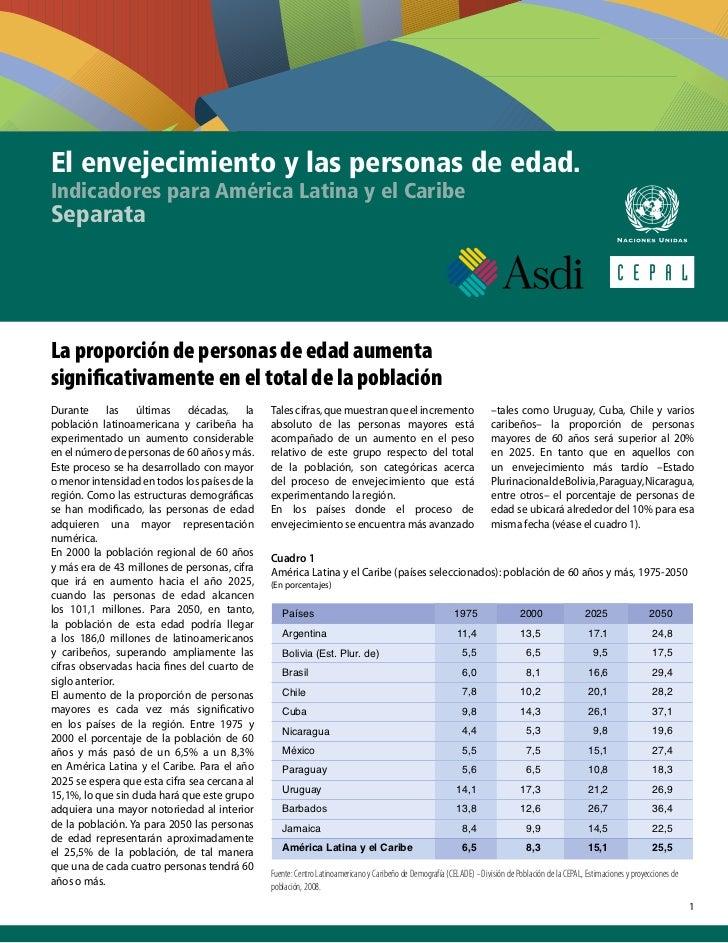 El envejecimiento y las personas de edad.Indicadores para América Latina y el CaribeSeparataLa proporción de personas de e...