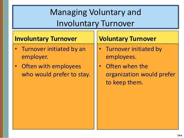 voluntary and involuntary turnover 5 basic questions about employee turnover let's look at the difference between involuntary and voluntary separation: involuntary separation.