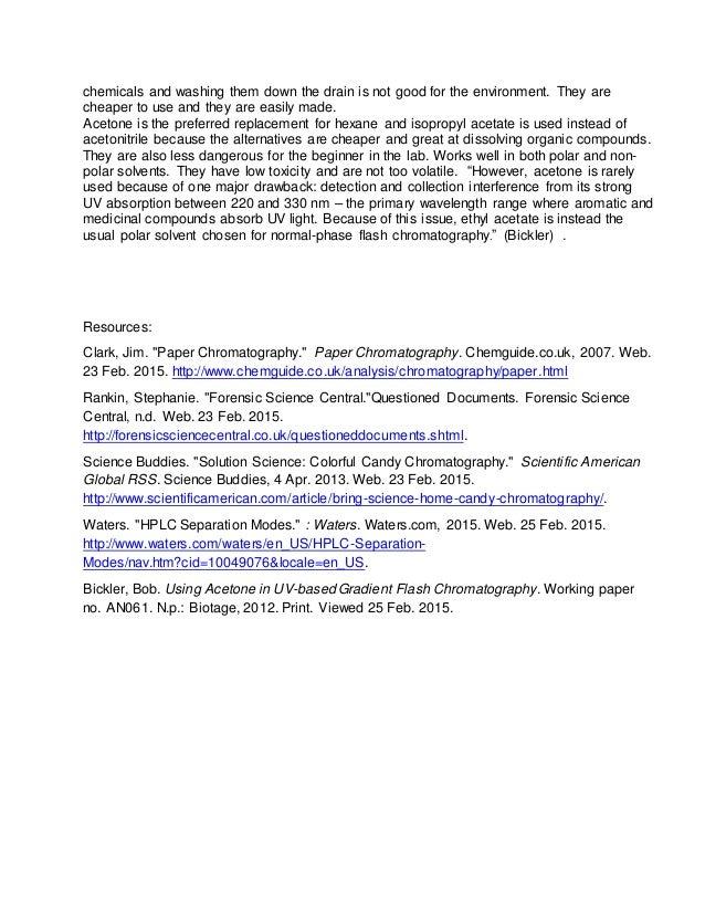 chromatography lab questions essay