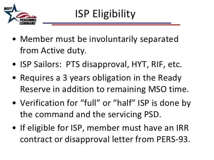 Separation Pay Or Isp And Navy Reserve By Psc Adams