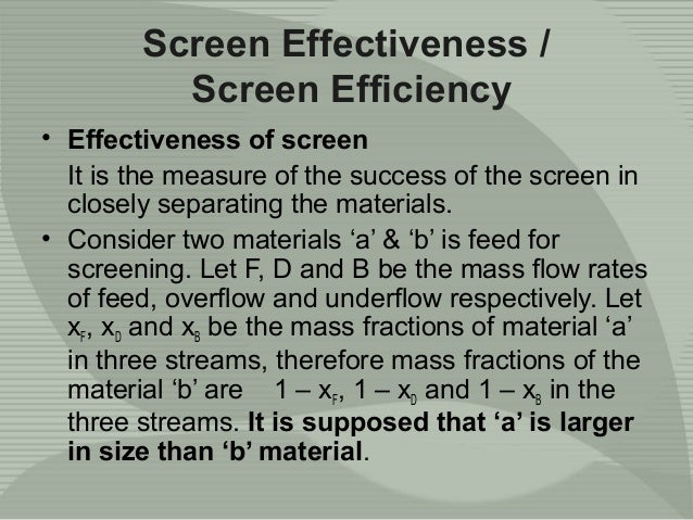 Separation, screening and classification
