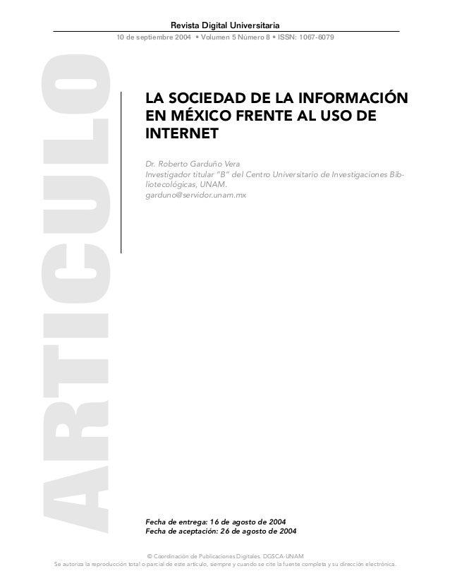 © Coordinación de Publicaciones Digitales. DGSCA-UNAM  Se autoriza la reproducción total o parcial de este artículo, siemp...