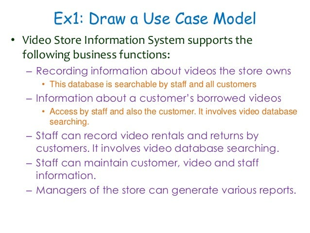 Software engineering ooad using uml 19 ex1 draw a use case model video store information system ccuart Gallery