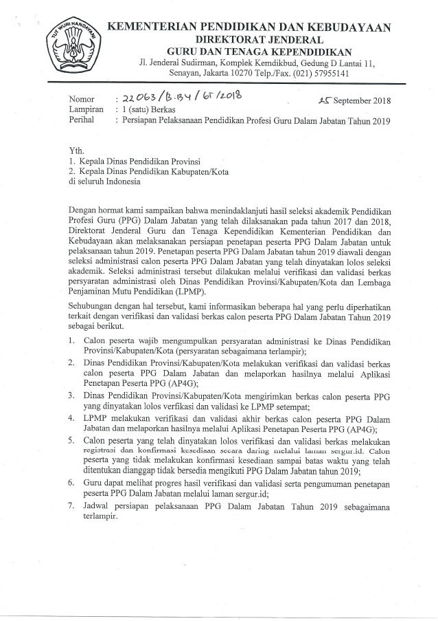 Jadwal Verifikasi PPG Dalam Jabatan 2019