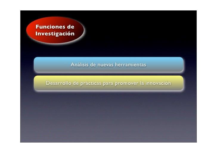 Funciones de Investigación                  Análisis de nuevas herramientas      Desarrollo de prácticas para promover la ...