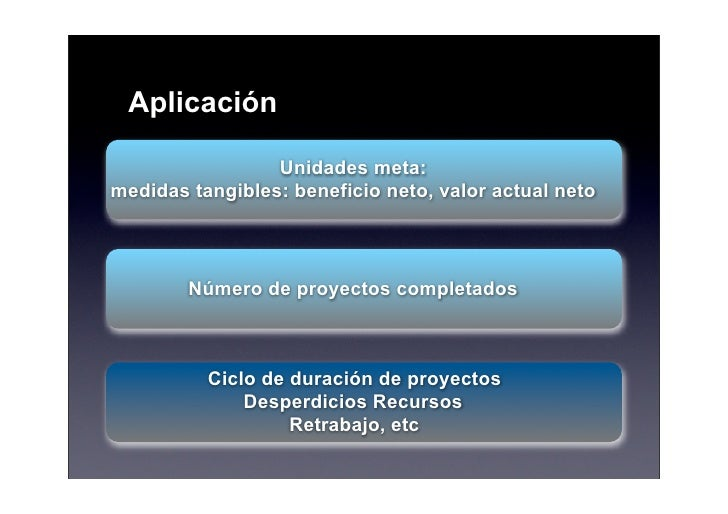 Aplicación                   Unidades meta: medidas tangibles: beneficio neto, valor actual neto            Número de proy...