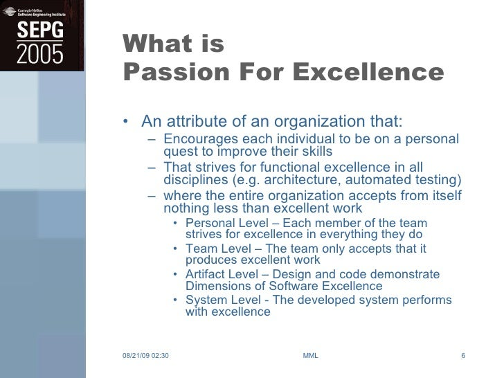 passion to excellence essay The first part of this essay has already been published  willing to follow him,  regardless of his intelligence or obvious passion for excellence.