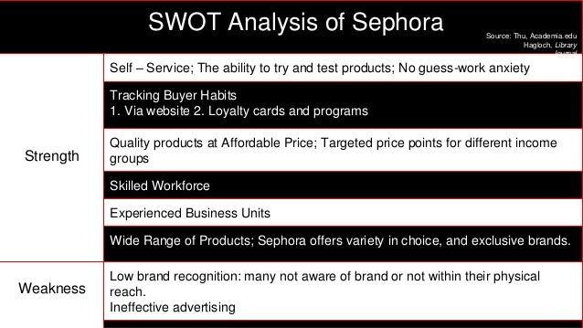 swot for sephora Brand weaknesses: mac cosmetics does not have a large amount of weaknesses ones weakness the company is facing is the pricing of its products so for this reas.