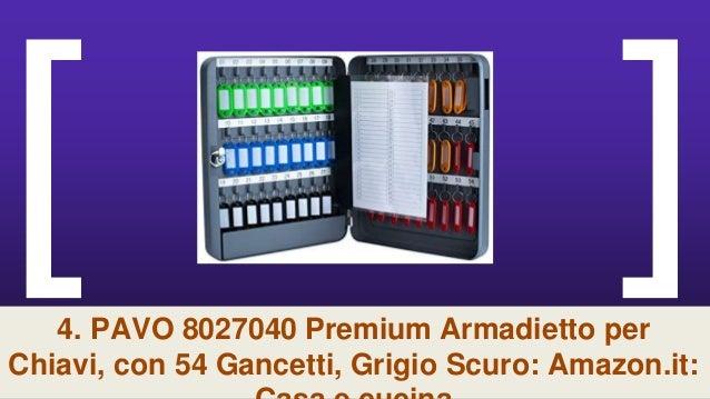 Grigio Scuro con 100 Gancetti PAVO Deluxe Armadietto per Chiavi