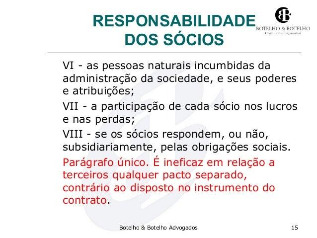 RESPONSABILIDADE DOS SÓCIOS VI - as pessoas naturais incumbidas da administração da sociedade, e seus poderes e atribuiçõe...