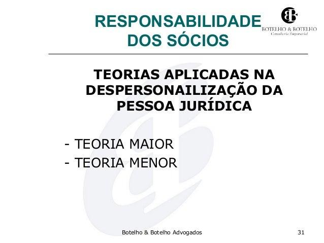 RESPONSABILIDADE DOS SÓCIOS TEORIAS APLICADAS NA DESPERSONAILIZAÇÃO DA PESSOA JURÍDICA - TEORIA MAIOR - TEORIA MENOR Botel...