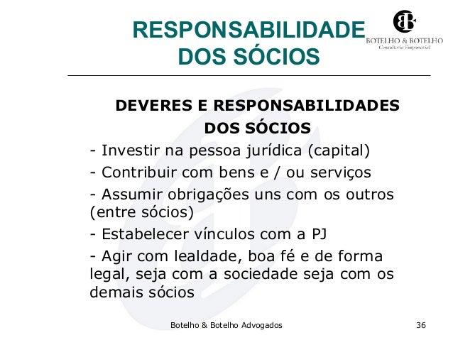 RESPONSABILIDADE DOS SÓCIOS DEVERES E RESPONSABILIDADES DOS SÓCIOS - Investir na pessoa jurídica (capital) - Contribuir co...