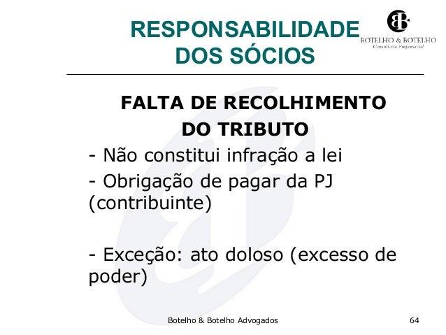 RESPONSABILIDADE DOS SÓCIOS FALTA DE RECOLHIMENTO DO TRIBUTO - Não constitui infração a lei - Obrigação de pagar da PJ (co...