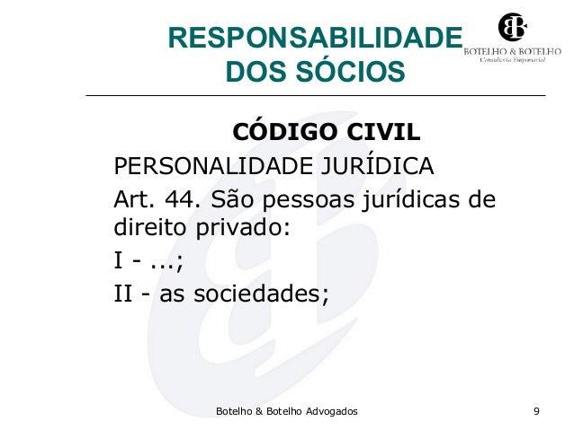 RESPONSABILIDADE DOS SÓCIOS CÓDIGO CIVIL PERSONALIDADE JURÍDICA Art. 44. São pessoas jurídicas de direito privado: I - ......