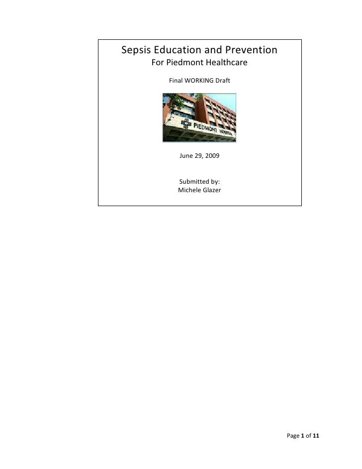 Sepsis Education and Prevention      For Piedmont Healthcare          Final WORKING Draft                 June 29, 2009   ...