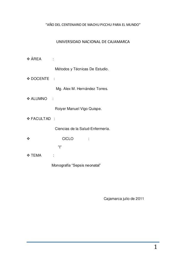 """""""AÑO DEL CENTENARIO DE MACHU PICCHU PARA EL MUNDO""""<br />UNIVERSIDAD NACIONAL DE CAJAMARCA<br />ÁREA           :<br />     ..."""