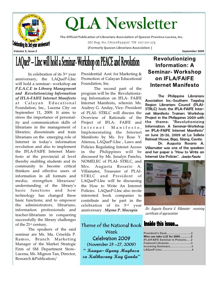QLA Newsletter                             The Official Publication of Librarians Association of Quezon Province-Lucena, I...