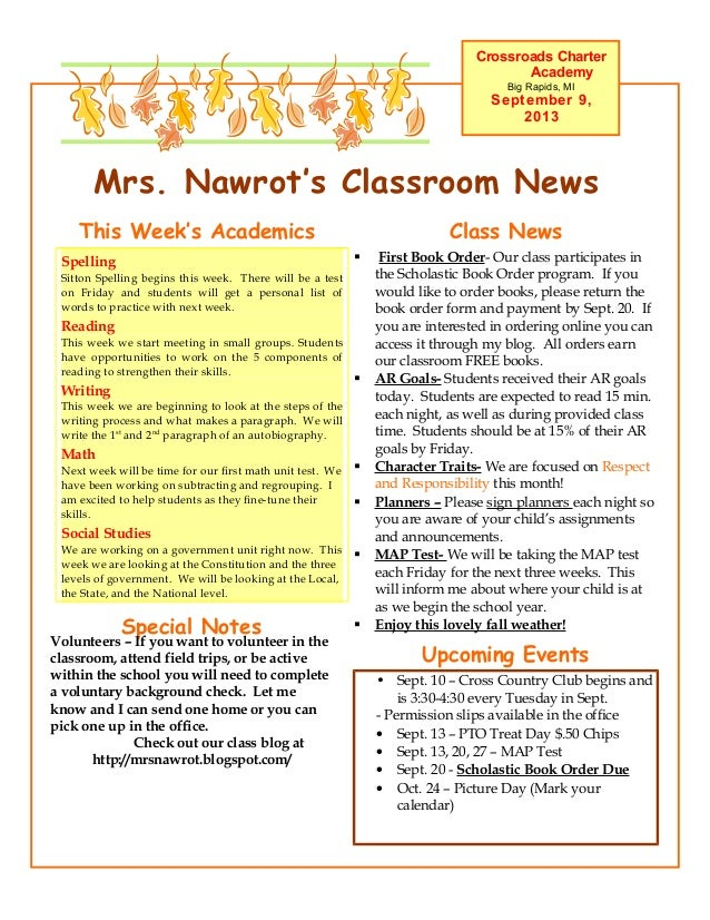 Mrs. Nawrot's Classroom News Crossroads Charter Academy Big Rapids, MI September 9, 2013 Upcoming Events • Sept. 10 – Cros...