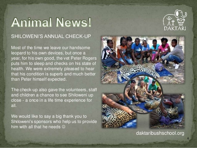 SHILOWENI'S ANNUAL CHECK-UP Most of the time we leave our handsome leopard to his own devices, but once a year, for his ow...