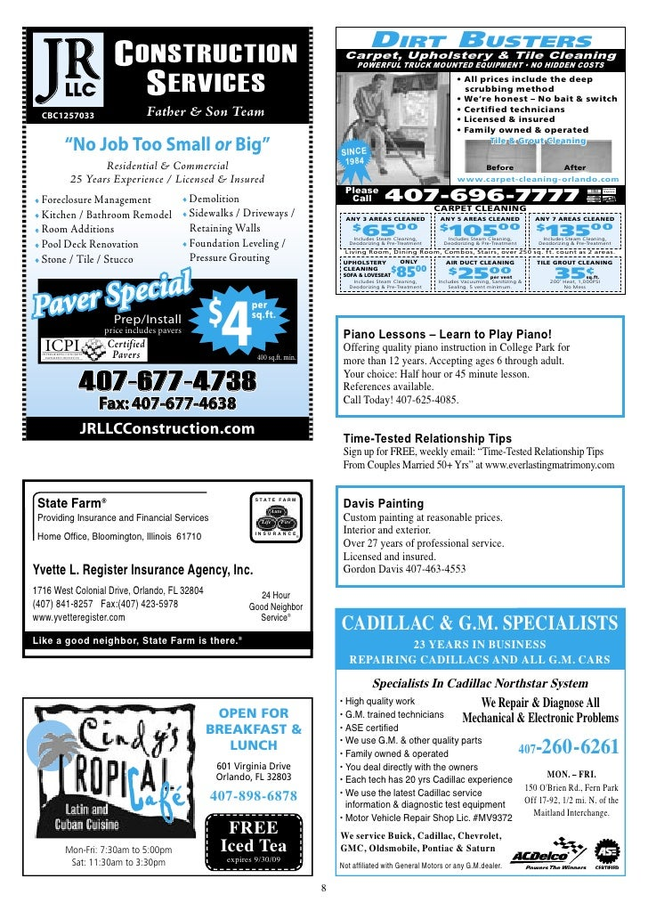 Our Town College Park Orlando Fl Direct Mail Small Business Ad