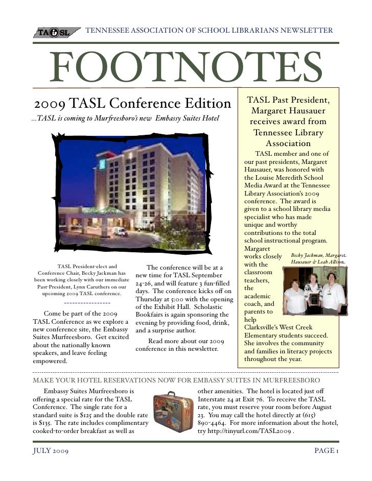 TENNESSEE ASSOCIATION OF SCHOOL LIBRARIANS NEWSLETTER!           FOOTNOTES                                                ...
