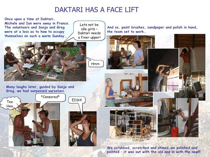 DAKTARI HAS A FACE LIFT Once upon a time at Daktari… Michele and Ian were away in France. The volunteers and Sonja and Gre...