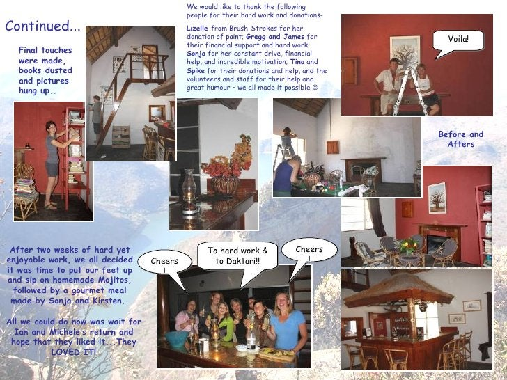 Continued … Final touches were made, books dusted and pictures hung up.. Voila! To hard work & to Daktari!! Cheers! Cheers...