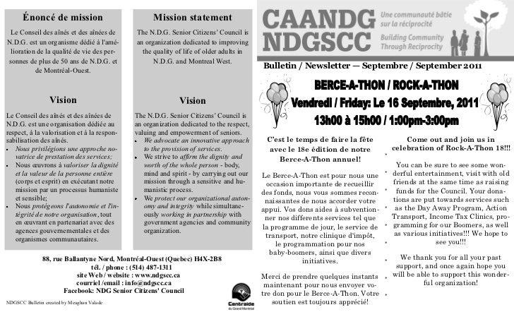 Énoncé de mission                           Mission statement Le Conseil des aînés et des aînées de       The N.D.G. Senio...