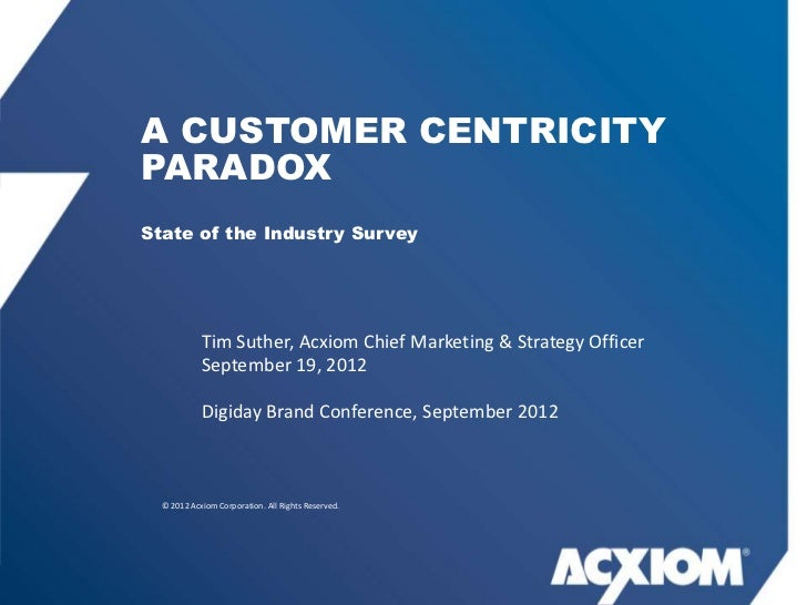 A CUSTOMER CENTRICITYPARADOXState of the Industry Survey            Tim Suther, Acxiom Chief Marketing & Strategy Officer ...