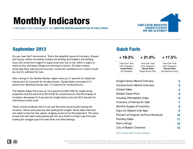 Monthly Indicators A RESEARCH TOOL PROVIDED BY THE GREATER BOSTON ASSOCIATION OF REALTORS®  September 2013  Quick Facts  D...