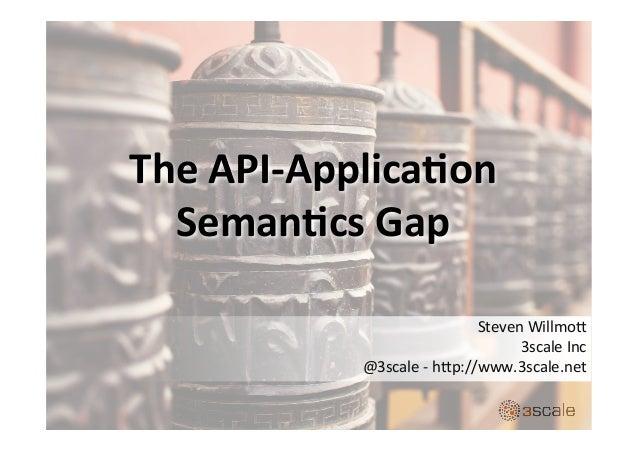 The  API-‐Applica.on   Seman.cs  Gap   Steven  Willmo,           3scale  Inc   @3scale  -‐  ...